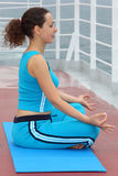 Profile of woman sitting on cruise liner deck stock photography