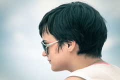 Profile of woman in sunglasses Royalty Free Stock Photo