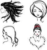 Profile_women_monochrome.eps Stock Photo