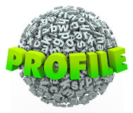 Profile Word Letter Ball Sphere Update Personal Information Stock Photo