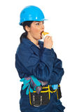 Profile of worker woman eating sandwich Royalty Free Stock Images