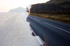 Profile of a young beautiful woman and the road, double exposure. Goal setting and dreams. Concept stock photo