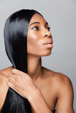 Profile of an young black beauty with straight hair Royalty Free Stock Photos