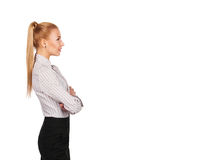Profile of young businesswoman with folded hands Royalty Free Stock Photos