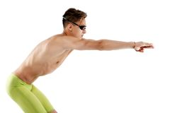 Profile of young , caucasian athlete swimmer with goggles in sta. Rt position Stock Images