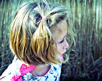 Profile of Young Girl/ Outdoors stock photo