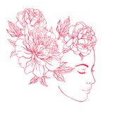 Profile of a young girl with peonies in her hair. Hand drawn vector fashion illustration in pink color. Female portrait of magic vector illustration