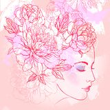 Profile of a young girl with peonies in her hair. Hand drawn vector fashion illustration in pink color. Female portrait of magic royalty free illustration
