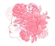 Profile of a young girl with peonies in her hair. Hand drawn vector fashion illustration in pink color. Female portrait of magic stock illustration