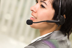 Profile of Young Mixed Race Woman with Headset Royalty Free Stock Photography