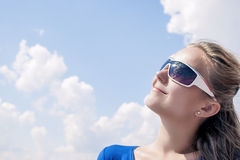Profile of Young Smiling Caucasian Blond Female Wearing sunglass Royalty Free Stock Photos