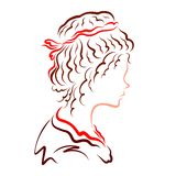 Profile of a young snub-nosed girl with a magnificent hairstyle stock illustration