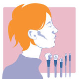 Profile of a young woman. A beautiful profile of a young woman with short red hair, freckles and a lilac sweater waiting to be made-up near a complete brushes stock illustration