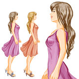 Profile of young woman at full length Royalty Free Stock Image