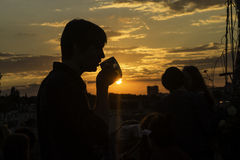 Profiled sunset. Sunset at a Berlin location overlooking the city stock images