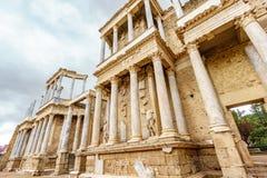 Profilen för Roman Theatre prosceniumbotten i Merida Royaltyfri Bild
