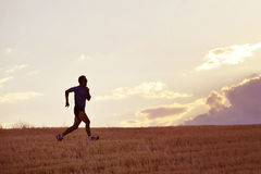 Profilera konturn av spring för den unga mannen i bygdutbildning i sommarsolnedgång Royaltyfri Foto