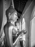 Profilera sikten av statyn av Buddha i buddistisk tempel, fridsamt och serenitet, härlig bakgrund Arkivbild