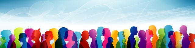 Crowd. Group of people. Communication between people. Team. Colored shilouette profiles royalty free illustration