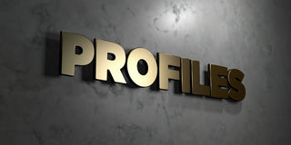 Profiles - Gold sign mounted on glossy marble wall  - 3D rendered royalty free stock illustration. This image can be used for an online website banner ad or a Stock Photography