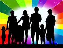 Profiles of large family Royalty Free Stock Photo