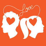 Profiles of man and woman connected by love wire Stock Photos