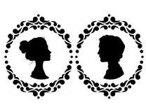 Profiles of man and woman Stock Photos