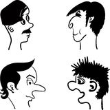 Profiles of men with different hairstyles comic  illustration Stock Photos