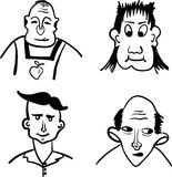 Profiles of men with different hairstyles comic  illustration Royalty Free Stock Images