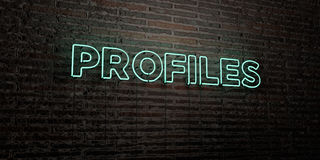 PROFILES -Realistic Neon Sign on Brick Wall background - 3D rendered royalty free stock image. Can be used for online banner ads and direct mailers Royalty Free Illustration