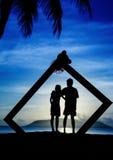 Profiles of romantic couple Stock Image