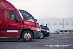 Profiles semi trucks modern color red blue on parking lot Royalty Free Stock Images