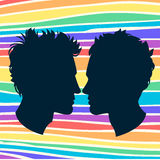 Profiles of two men homosexual couple. Rainbow background Stock Image