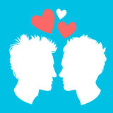 Profiles of two men homosexual couple Stock Photos