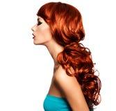 Profilez le portrait d'une femme avec de longs poils rouges. Photo stock