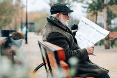 Profilfoto des ernsten Pensionärs das Leseartikel stockbild