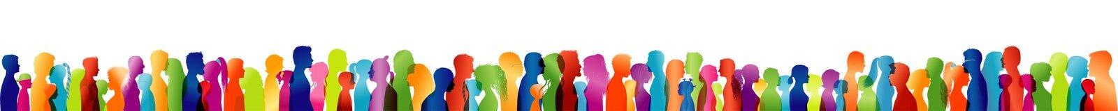 Profili colorati della siluetta Folla di conversazione Grande gruppo di persone Dialogo fra la gente Conversazione della gente Es illustrazione di stock