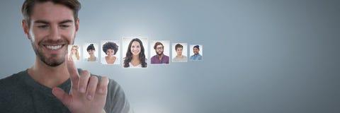 Profili commoventi del ritratto dell'uomo della gente differente Fotografie Stock Libere da Diritti