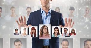 Profili commoventi del ritratto dell'uomo della gente differente Immagini Stock Libere da Diritti