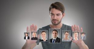 Profili commoventi del ritratto dell'uomo della gente differente Immagini Stock