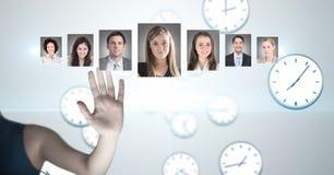 Profili commoventi del ritratto della mano della gente differente Fotografia Stock