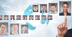 Profili commoventi del ritratto della mano della gente differente Immagini Stock