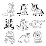 Profili degli animali del fumetto Fotografie Stock