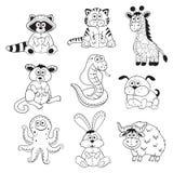 Profili degli animali del fumetto Immagini Stock Libere da Diritti
