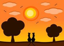 Profili il gatto nell'illustrazione romantica del fumetto del tramonto Fotografia Stock