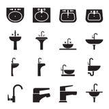 Profili il lavandino, il lavabo, insieme dell'icona del rubinetto Fotografie Stock Libere da Diritti