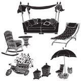 Profili il nero su un fondo bianco in una mobilia FO di vettore royalty illustrazione gratis