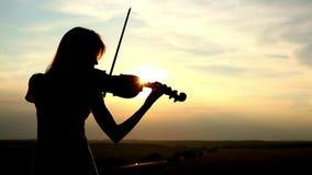 Profili il violinista della ragazza che gioca il violino al fondo del cielo del tramonto video d archivio