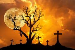 Profili l'albero morto spaventoso e profili gli incroci spettrali in cimitero mistico con la grande luna piena Immagine Stock