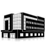 Profili l'edificio per uffici con un'entrata e una riflessione Immagine Stock